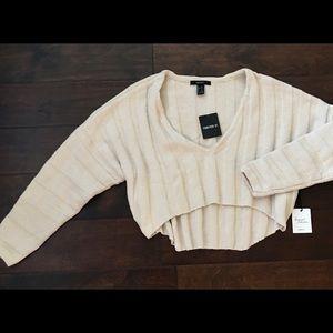 NEW Forever 21 ivory S crop v neck sweater